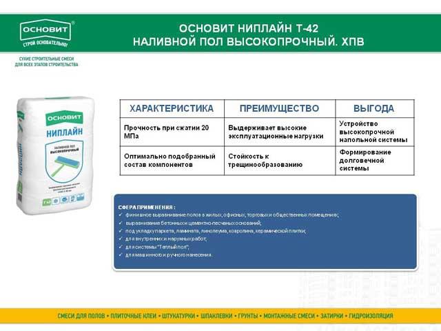 Основит Ниплайн Т-42 характеристики