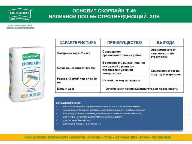Основит Скорлайн Т-45 характеристики