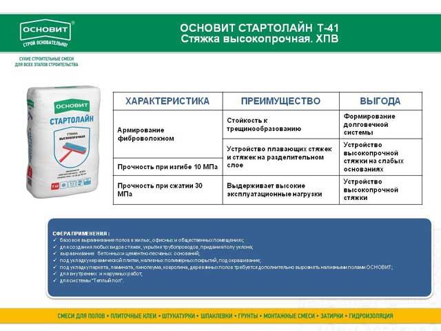 Основит Стартолайн Т-41 характеристики